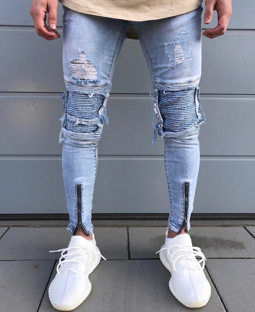 2017 Dropshipping Men Skinny Jeans Design Fashion Slim Hiphop Biker Strech Ankle Zipper Pleated Denim Jeans For Men