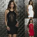 Mujeres atractivas sin mangas Dacron + muñeca del cordón de la tapa del vestido Halter DL2335