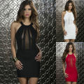 Sexy Women Sleeveless Dacron +Lace Babydoll Halter Top Dress DL2335