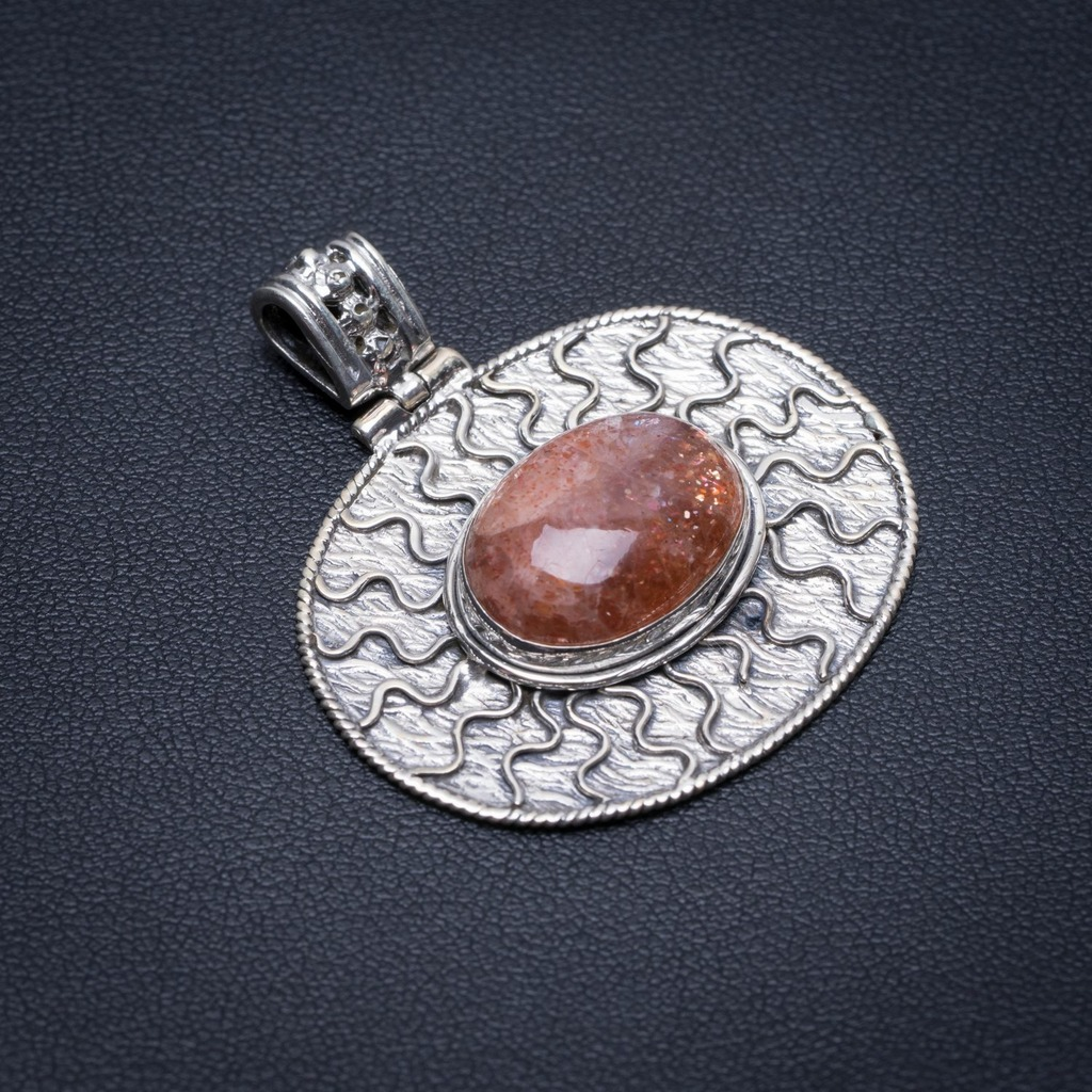 Natural Calcite Punk Style Vintage 925 Sterling Silver Pendant 1 1/2 S1089Natural Calcite Punk Style Vintage 925 Sterling Silver Pendant 1 1/2 S1089