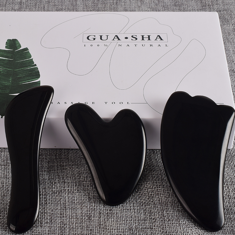 Gouache Face Body Scraper Black Obsidian Scraping Board Set Back Foot Guash Scratch Massager Crystal Stone Gua Sha Massage Tools