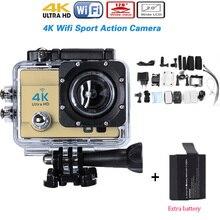 Ajouter Batterie WIFI 4 K Ultra HD Wifi Sport Action Caméra 16MP 1080 P 170 Grand Angle 4 k HD 30 M Étanche + Supplémentaire 1 pcs batterie