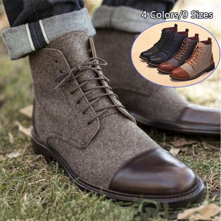 Men ankle boots winter casual lace up shoes booties oxfords gladiator patchwork