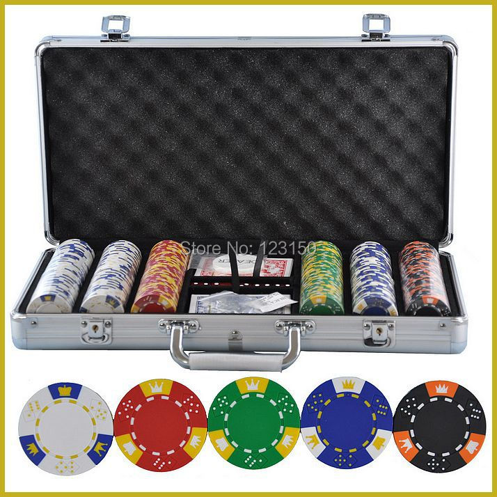 PK-5001  300pcs chips with case,  Clay 14g Poker Chips insert metal, five  colors 50 clay composite striped dice 11 5 gram poker chips by brybelly