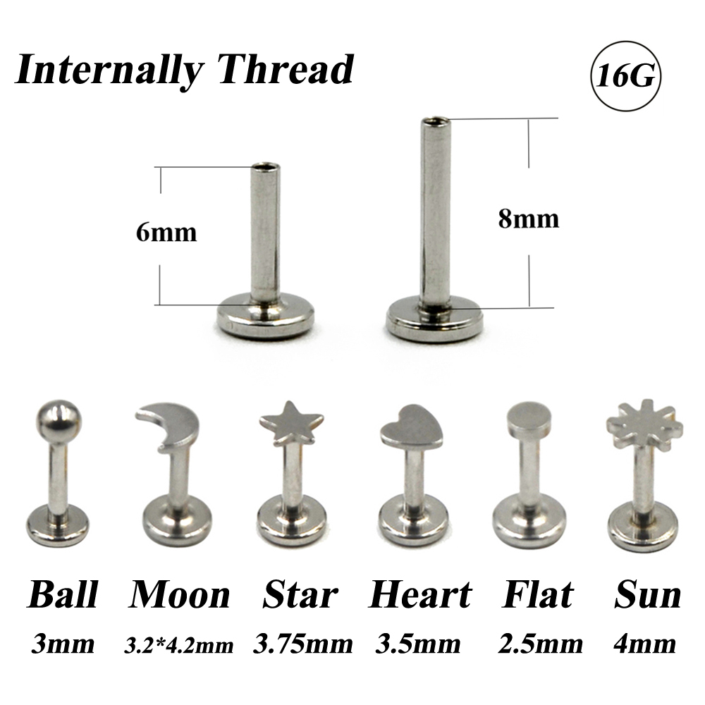 1Piece Stainless Steel Monroe Labret Lip Bar Ring Earring Push Fit Top 16g Cartilage Internally Thread Piercing Body Jewelry