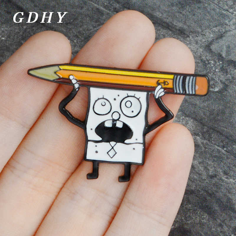 GDHY Cartoon Spongebob And Pencil Brooches Cute Doodle Spongebob Enamel Pins Backpack Bag Clothes Button Badge For Kids Gifts