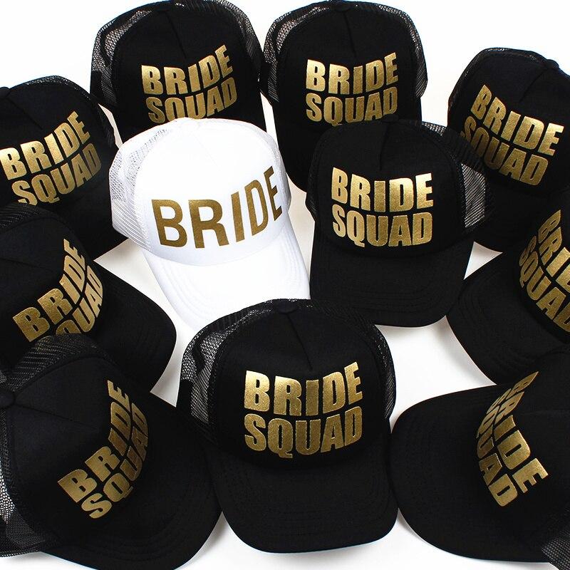 BRIDE Wedding   Baseball     Cap   Gold Print Mesh Hat Women Party Brand Bachelor Club Team BRIDE SQUAD Snapback   Caps   Beach Casquette