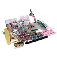 New 1 Set 48 Pots Acrylic nail art False Finger Pump Clipper Brush Set Kits Nail Decoration DIY For Lady 70911