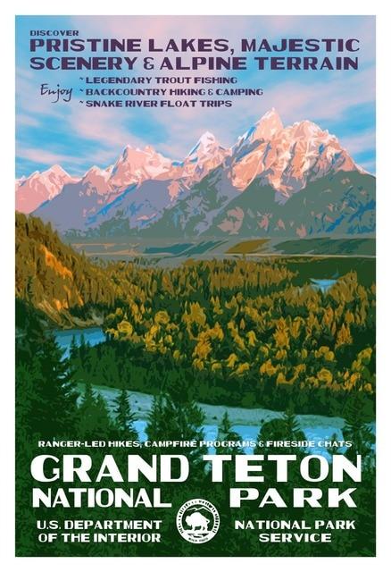 Grand Teton National Park Landscape Vintage Retro Decorative Poster DIY Wall Home Bar Posters Decor