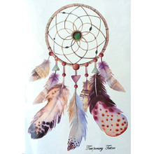 Fashion Waterproof Hot Temporary Tattoo Stickers 21 X 15 CM Dreamcatcher With Big Feathers