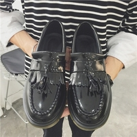 Autumn And Winter Fringed Retro Small Leather Shoes For Men To Help Increase Leisure Thick Bottom Shoes Black Wine Red