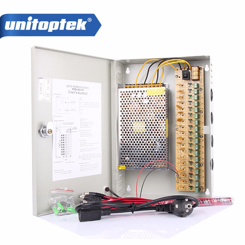 DC12V 20A 18 Port Camera Adapter Power CCTV Box Auto Reset for DVR Cameras 4ch 12v 5a power cctv supply box for camera 4 port dc pigtail coat dc adapter
