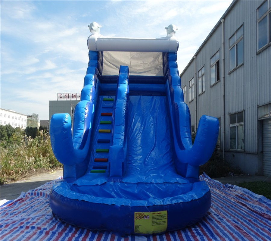 Outdoor inflatable water slide with swimming pool ...