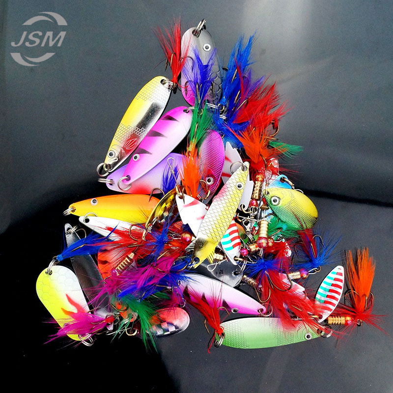 JSM 30 pcs/lot Assorted Metal Fishing Lures Colorful Feather Casting Fishing Spinner Baits Sharp Fishing Treble hooks