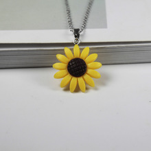 New sunflower flower pendant titanium steel necklace female fashion jewelry stainless long chain