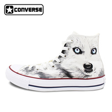 White Converse All Star Custom Design Hand Painted Shoes Animal Wolf High Top Canvas Sneakers for