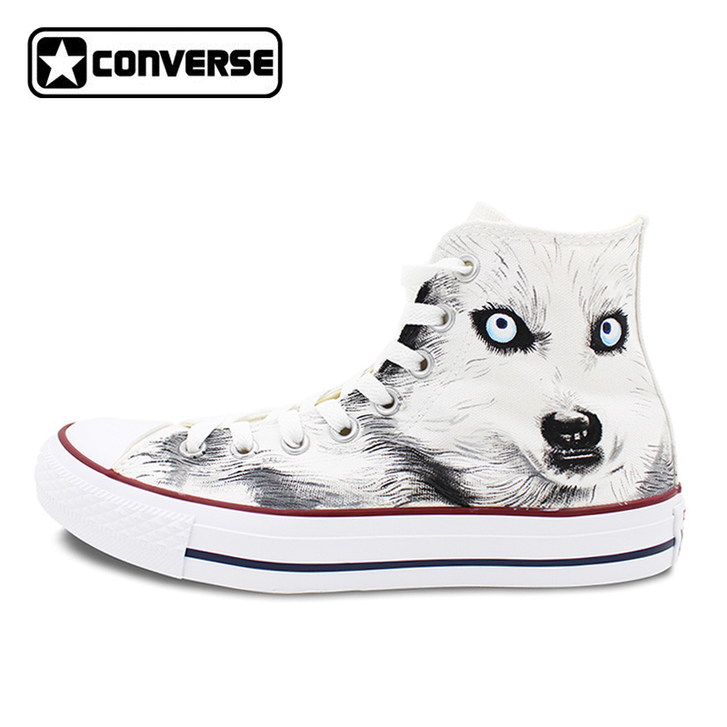 White Converse All Star Custom Design Hand Painted font b Shoes b font Animal Wolf High