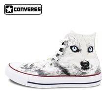 Белые Converse All Star пользовательские Дизайн ручной росписью обувь животных Волк высокие холщовые кроссовки для подарков