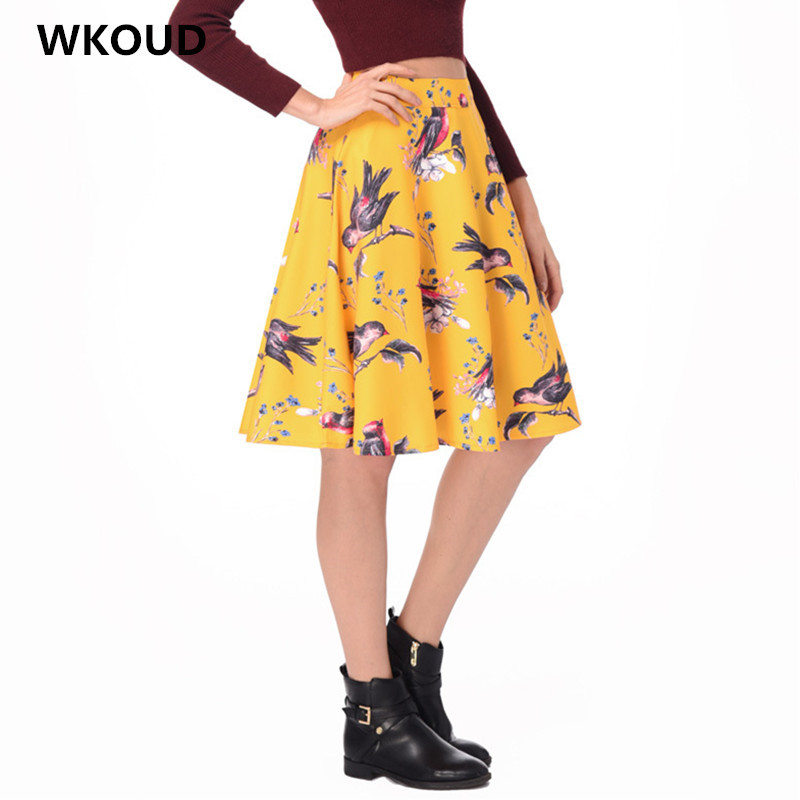 762dc2125501 WKOUD Women's High Waist Animal Printed Skirts Summer A line Pleated Skirt  Female Casual Wear Bottoms Knee Length Saias H1059-in Skirts from Women's  ...