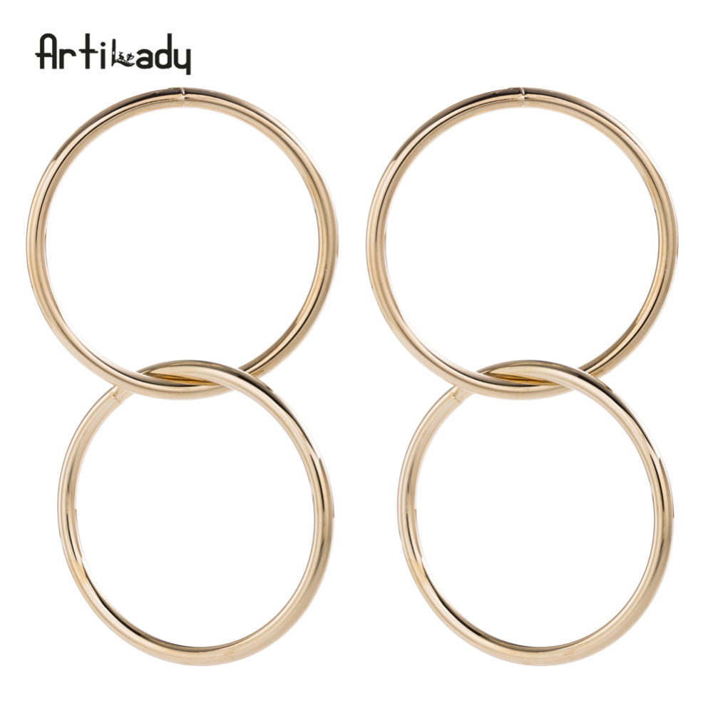 Artilady hyperbolic intersecting circle dangle earrings gold color drop earrings womens jewelry gift dropshipping