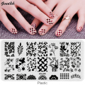 SJQL-Nail Stamping Plates Plastic Nails Art Stamp Plastic Templates for Nail Gel Polish