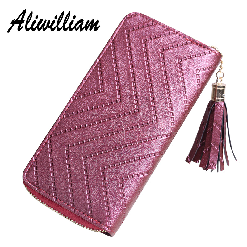 где купить Fashion Tassel Zipper Long Wallet For Women Purse Leather Ladies Handbag Clutch Bag Female Purses Womens Wallets carteras mujer дешево