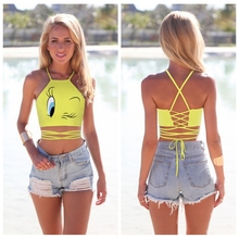 Yellow Tweety Bird Surfing T-Shirt Women Bustier Halter Strappy Sport Tank Tops Boob Tube Top Sexy Backless Strapless Tee FTEAZ