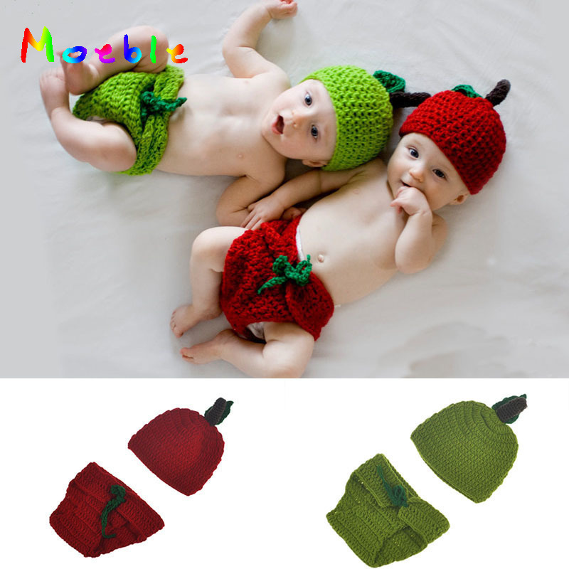 Crochet Love Apple Newborn Twins Costume Photo Props Knitted Baby Hat Beanie Newborn Unisex Photography Props Boys Girls