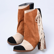 Rushed Arrival Autumn and Winter Women Ankle Boots Tassel Nubuck Leather Chunky Heels Botines Fringed Martin Boots Ladies Shoes