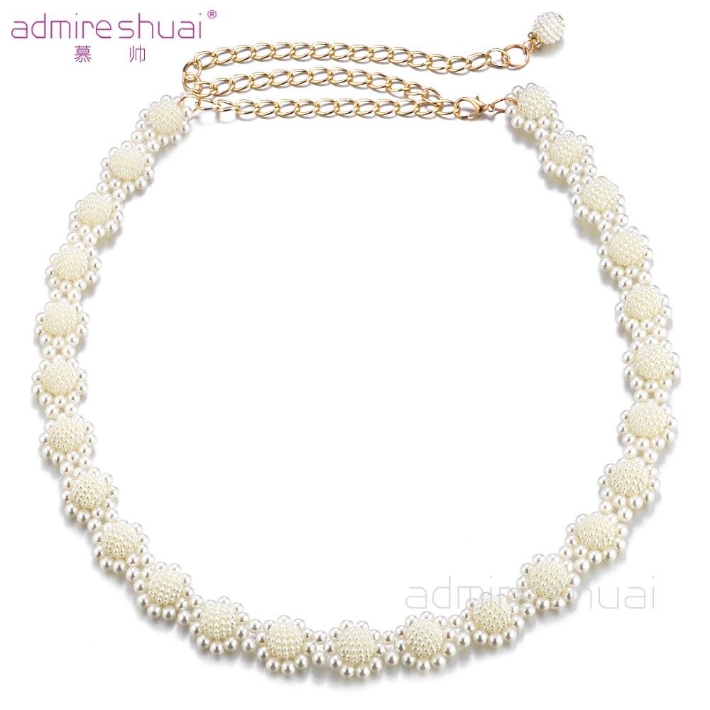 White Wedding Dress Gold Jewelry: 2017 New Arrival Fashion Women Belt White Pearl Belt Bling
