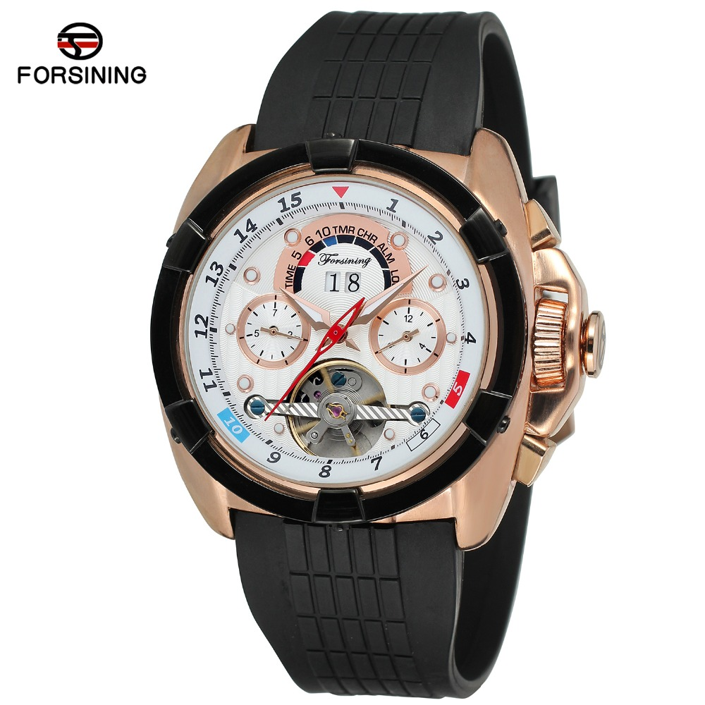 Top Brand Luxury Mens Sport Watches Rubber WatchBand Tourbillon Mechanical Automatic Watch Men relogio masculino forsining automatic tourbillon men watch roman numerals with diamonds mechanical watches relogio automatico masculino mens clock