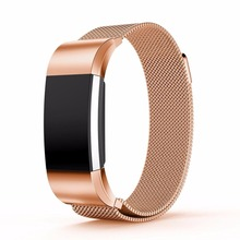 Magnetic Milanese Loop Wrist strap & Link Bracelet Stainless Steel Band for Fitbit Charge 2 band men woman Adjustable Closure