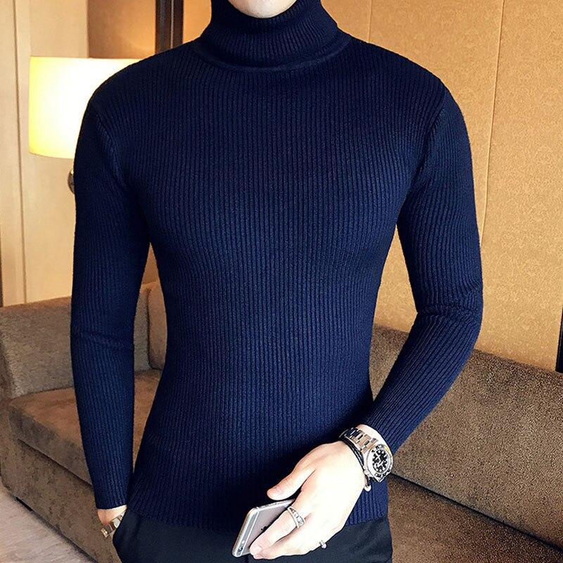 Зимний толстый теплый мужской свитер с высоким воротником, Брендовые мужские свитера с высоким воротником, облегающий пуловер, Мужская трикотажная одежда с двойным воротником - Цвет: 7206 dark blue