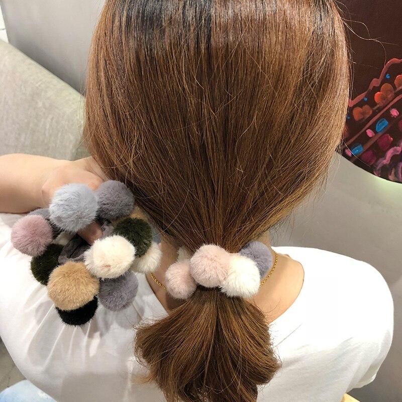 2pcs//set Cute Ponytail Head Rope Headwear Fur Ball Elastic Hair Band Scrunchie R