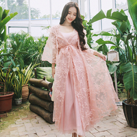 Spring Women Two Piece Nightgowns Ladies Long Sleeved Nightdress Royal Vintage Sweet Princess Sleepwear Lace Embroidery
