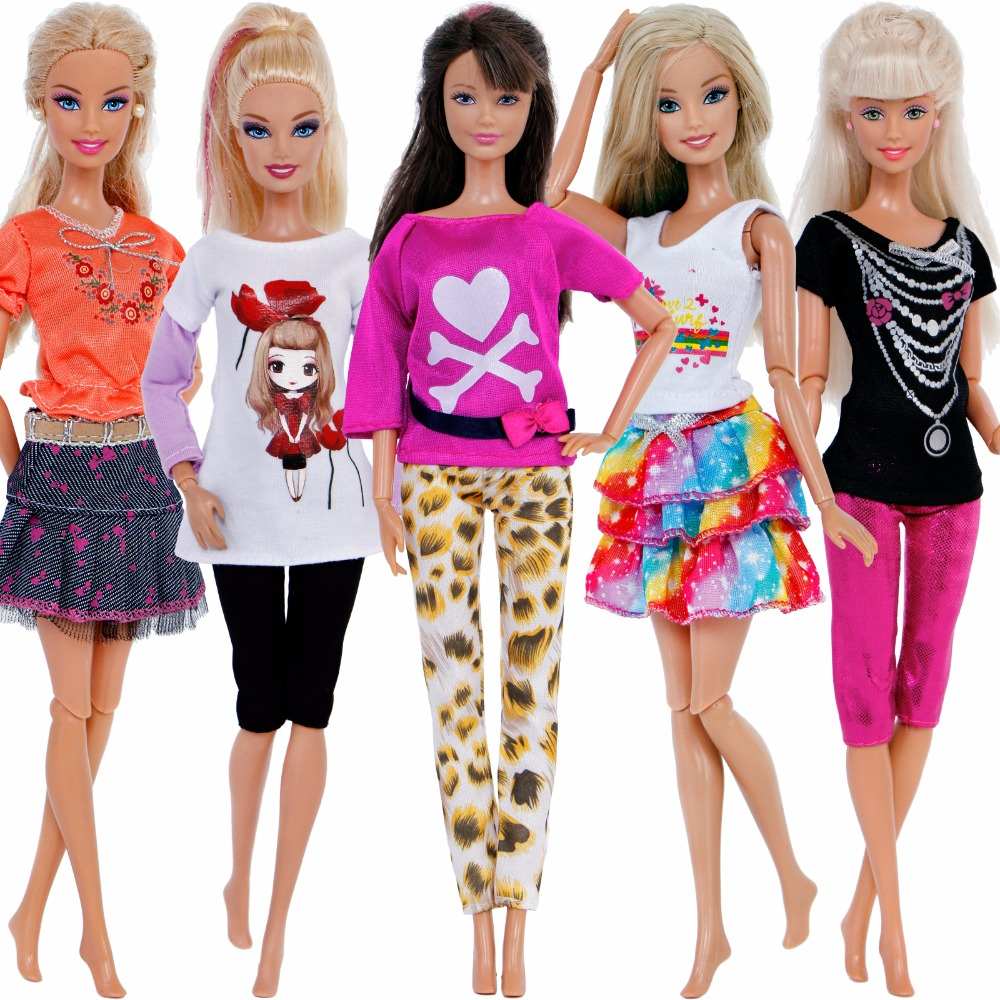 Handmake 5 Sets Lovely Outfits Lady Daily Casual Wear T-Shirt Blouse Shorts Leopard Pants Cake Skirt Clothes For Barbie Doll Toy high quality 3 pcs mens outfits daily casual wear blouse white pants clothes for barbie doll ken prince accessories toys gifts