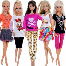 Handmake 5 Sets Lovely Outfits Lady Daily Casual Wear T-Shirt Blouse Shorts Leopard Pants Cake Skirt Clothes For Barbie Doll Toy