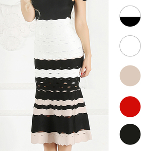 Image 2 - Spódnica syrenka dla kobiet 2019 lato nowa seksowna z wiązaniami spódnice z wysokim stanem panie Celebrity Striped spódnica trzy czwarte czerwony czarny biały