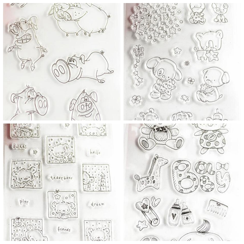 Lovely Animal Designs Clear Transparent Stamp DIY Scrapbooking/Card Making/Christmas Decoration Supplies signet lovely animals and ballon design transparent clear silicone stamp for diy scrapbooking photo album clear stamp cl 278