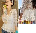 Hot Sale Women Lace Shirt Long Sleeve Shoulder Pads Hollow Blouse Female Sexy Crochet Lace Cardigan Tops Plus Size M-XXL