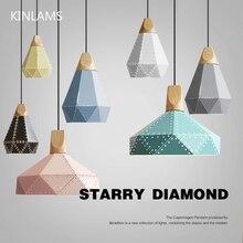 Modern diamond shape pendant hanging lights, colorful LED lamp for home bar restaurant