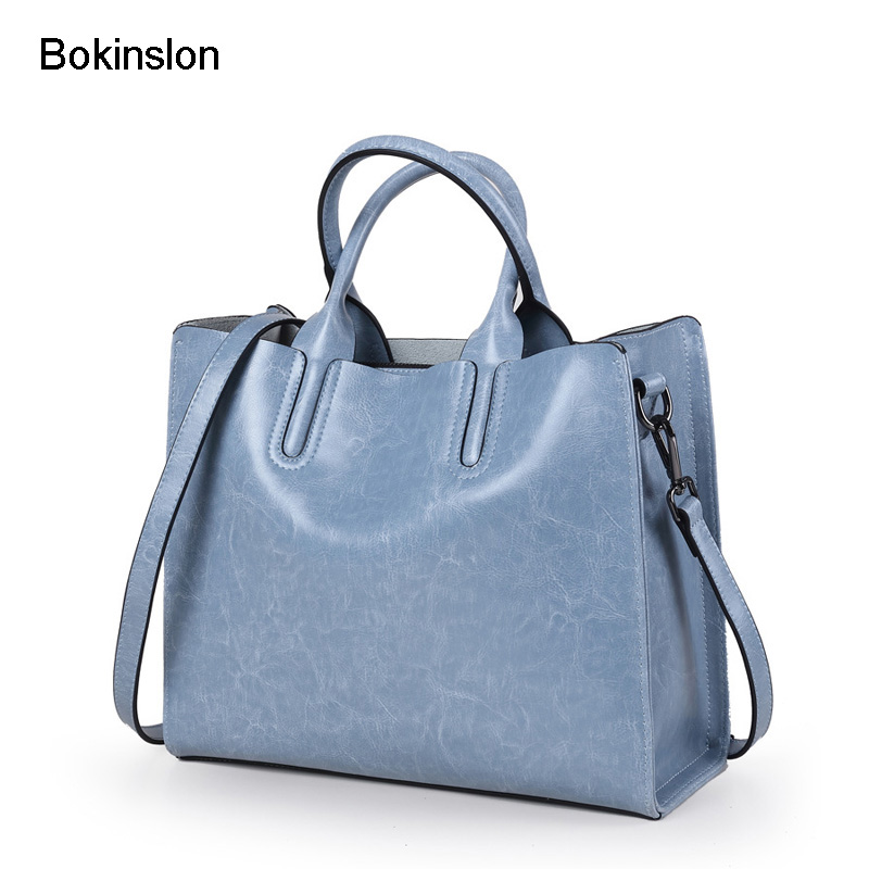 Bokinslon Handbags Bags Women Cow Split Leather Casual Female Handbags Solid Color Elegant Fashion Ladies Bags сумка cow split leather handbags 05