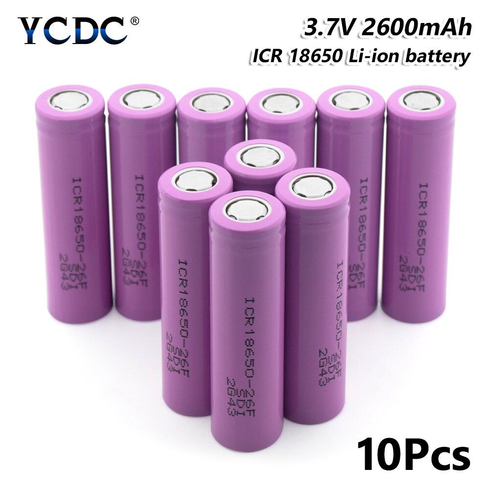 10 pièces haute performance icr 18650-26f batterie 2600 mah 3.7 v cellule rechargeable pour stylo Laser lampe de poche LED support de batterie de cellules