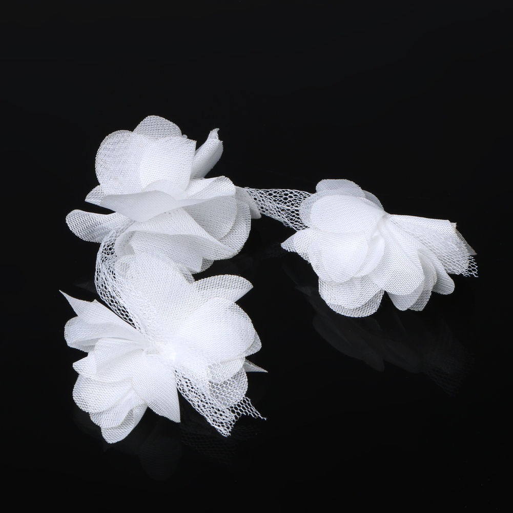 12pcs Chiffon Fabric Flower Diy Handmade Craft Garment Hairband