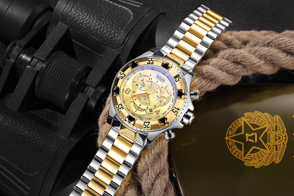 19 Top Brand Luxury Mens Oversize Watch Gold Business Steel Quartz Clock Waterproof Sport Military Chronograph Male Wristwatch 32