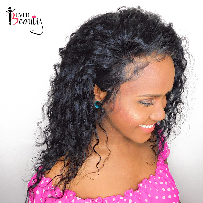 Ever Beauty Loose Curly Lace Front Human Hair Wig Pre Plucked Brazilian Remy Hair Natural Black 12-24inch