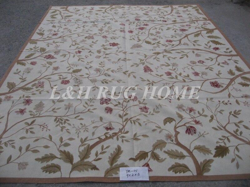 Livraison gratuite 9'x12' Aubusson tapis en laine français Aubusson tapis tissé à la main tapis de zone
