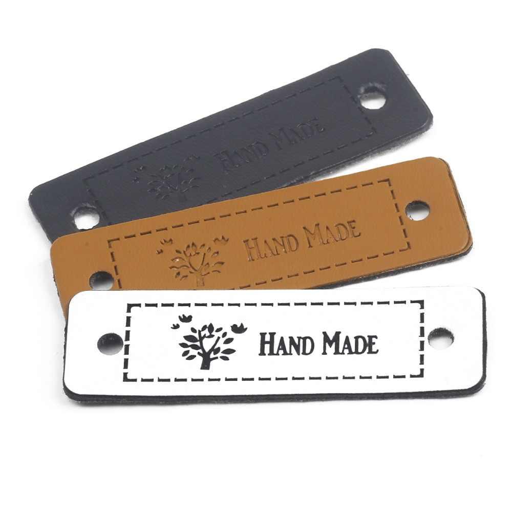 Hot Sale 12 Pcs 5*1.5 Cm Tangan Membuat Label Kulit Tags untuk DIY Kerajinan Hadiah Pakaian Jeans tas Sepatu Jahit Aksesoris