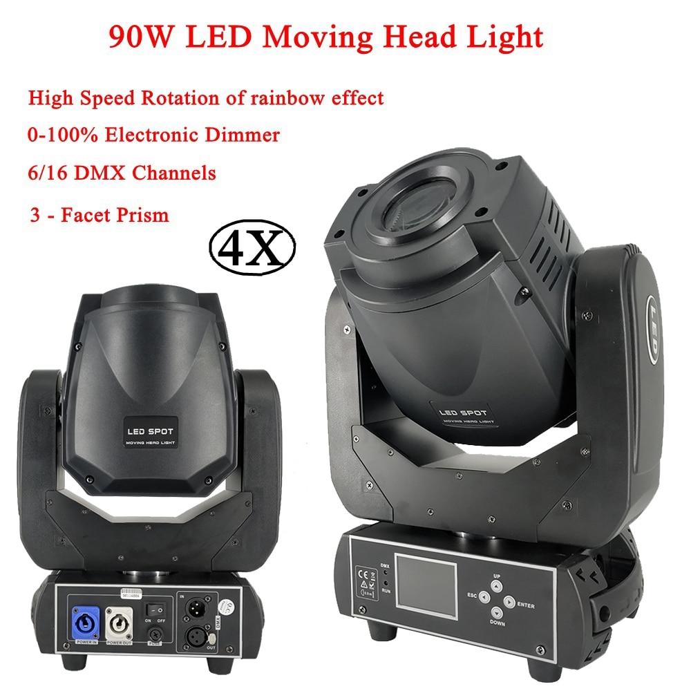 4Pcs/Lot DJ Light 90W LED SPOT Moving Head Light High Speed Rotation Of Rainbow Effect Light DMX512 Disco Sound Party Lights