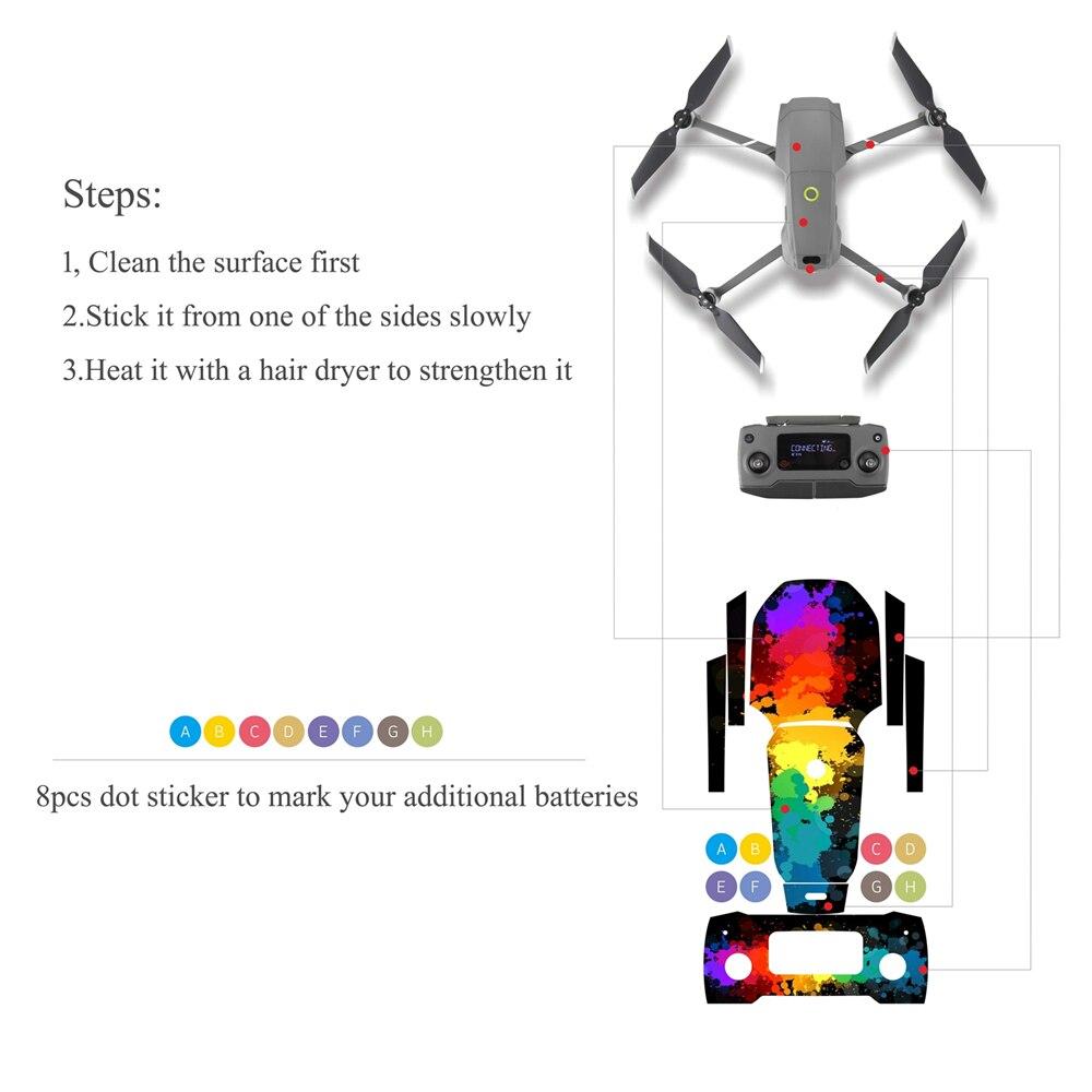 Waterproof PVC Stickers Decal Skin Wrap Protector For DJI Mavic Pro Drone Quad